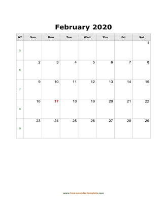 february 2020 calendar simple vertical