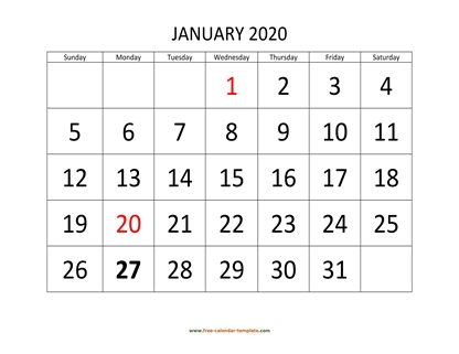 january 2020 calendar bigfont horizontal