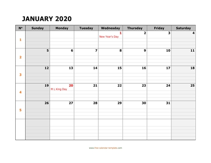 january 2020 calendar daygrid horizontal