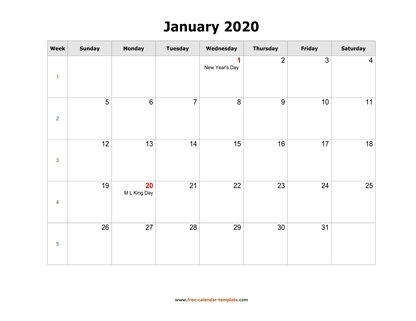 january 2020 calendar holidays horizontal
