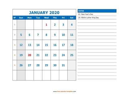january 2020 calendar largenotes horizontal
