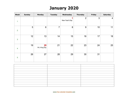 january 2020 calendar notes horizontal