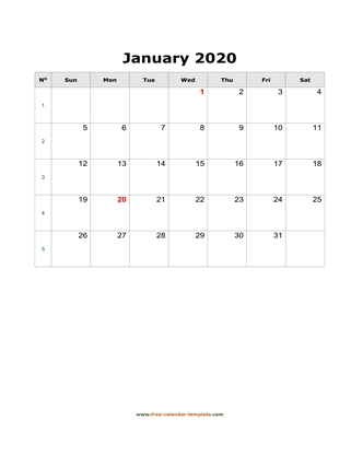 january 2020 calendar simple vertical