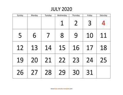 july 2020 calendar bigfont horizontal