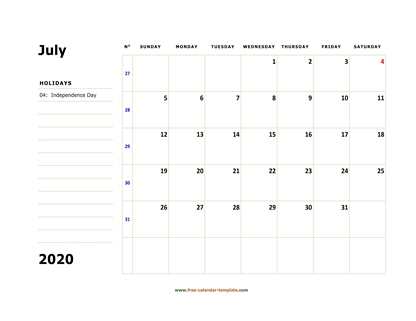 july 2020 calendar boxnotes horizontal