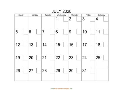 july 2020 calendar checkboxes horizontal
