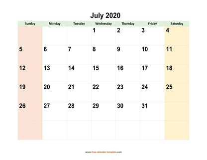 july 2020 calendar colored horizontal
