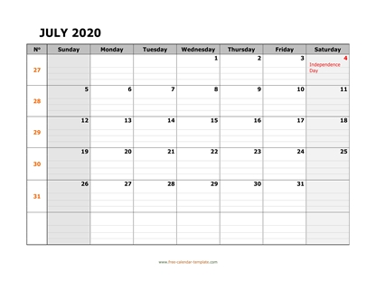 july 2020 calendar daygrid horizontal