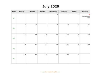 july 2020 calendar holidays horizontal