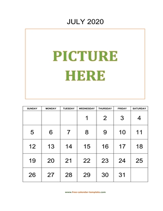 july 2020 calendar picture vertical
