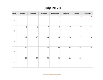 july 2020 calendar simple horizontal