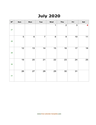 july 2020 calendar simple vertical