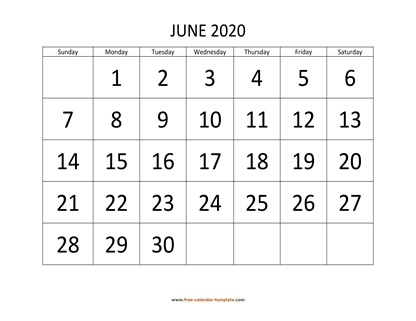 june 2020 calendar bigfont horizontal
