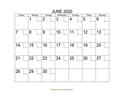 june 2020 calendar checkboxes horizontal