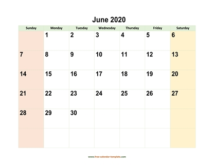 june 2020 calendar colored horizontal