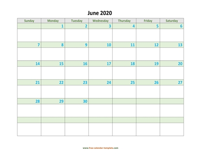 june 2020 calendar daycolored horizontal