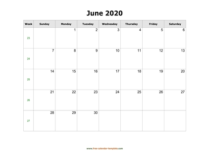 june 2020 calendar holidays horizontal