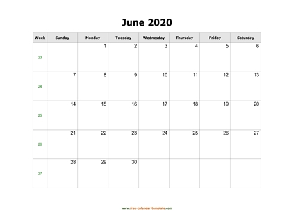 june 2020 calendar simple horizontal