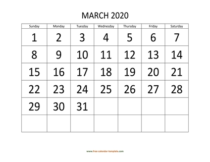 march 2020 calendar bigfont horizontal
