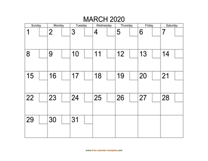 march 2020 calendar checkboxes horizontal