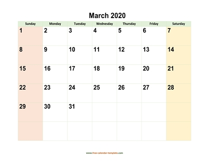 march 2020 calendar colored horizontal