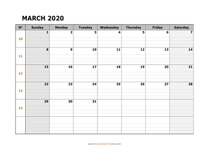 march 2020 calendar daygrid horizontal