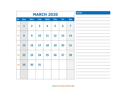 march 2020 calendar largenotes horizontal