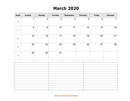 march 2020 calendar notes horizontal