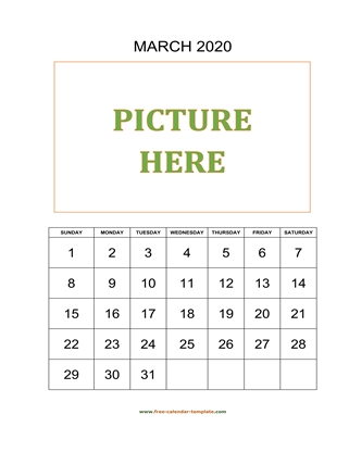 march 2020 calendar picture vertical
