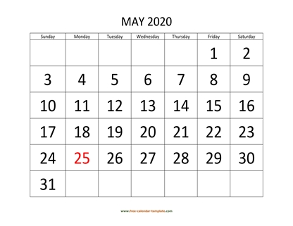 may 2020 calendar bigfont horizontal