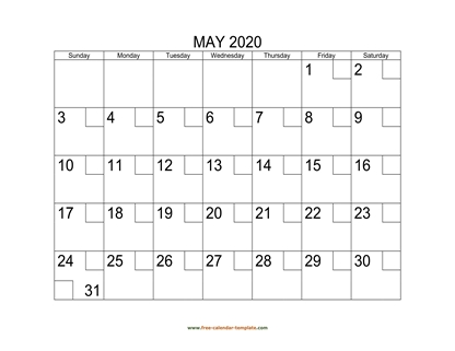 may 2020 calendar checkboxes horizontal