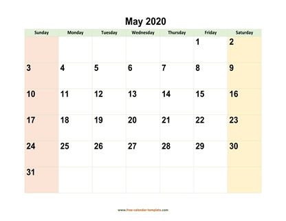 may 2020 calendar colored horizontal