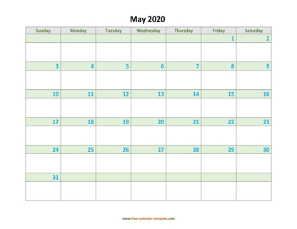 may 2020 calendar daycolored horizontal
