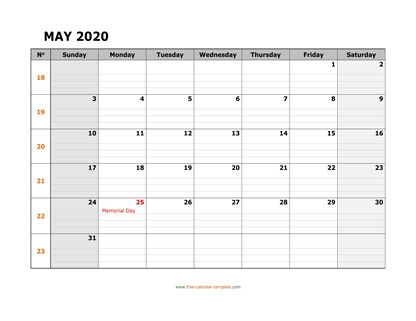 may 2020 calendar daygrid horizontal