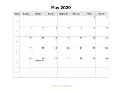 may 2020 calendar holidays horizontal