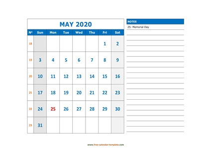 may 2020 calendar largenotes horizontal