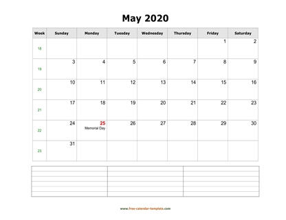 may 2020 calendar notes horizontal