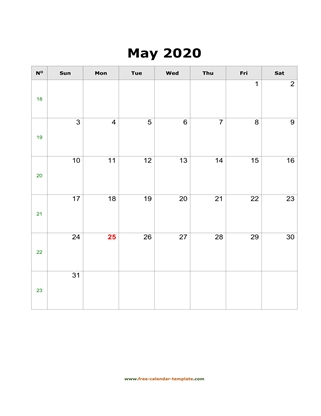 may 2020 calendar simple vertical