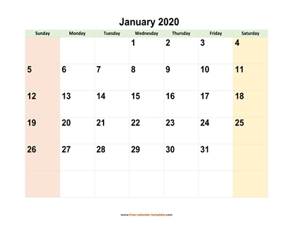 monthly 2020 calendar colored horizontal