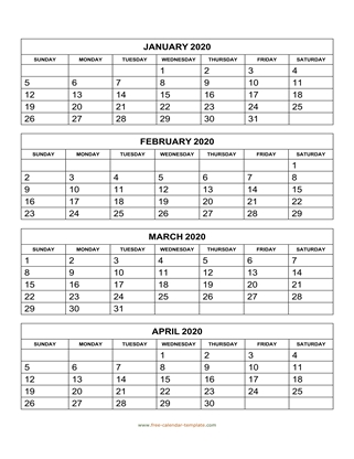 monthly 2020 calendar four months vertical