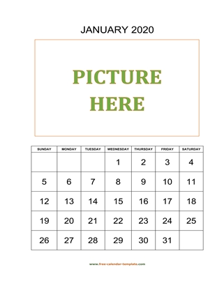 monthly 2020 calendar picture vertical
