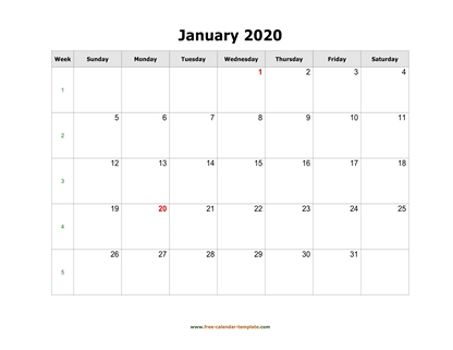 monthly 2020 calendar simple horizontal