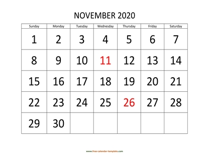 november 2020 calendar bigfont horizontal