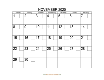 november 2020 calendar checkboxes horizontal
