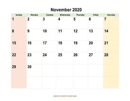 november 2020 calendar colored horizontal