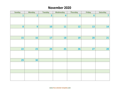 november 2020 calendar daycolored horizontal