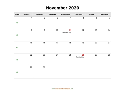november 2020 calendar holidays horizontal