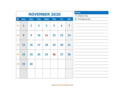 november 2020 calendar largenotes horizontal