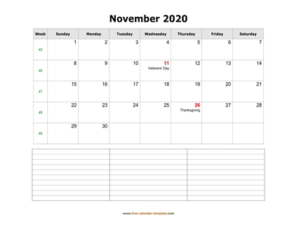 november 2020 calendar notes horizontal