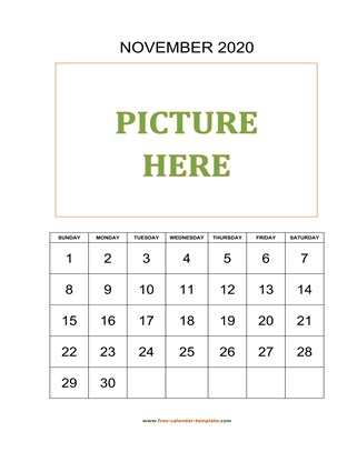 november 2020 calendar picture vertical